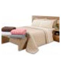 kit cobre leito c/ porta 3pçs casal padrão matelado c/ forro areia