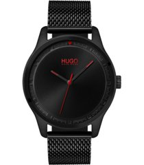 hugo men's #move black stainless steel mesh bracelet watch 42mm
