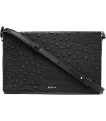 furla textured zip-up leather crossbody bag - black