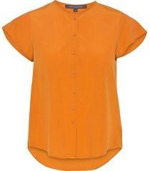 ery crepe sslv shirt kortärmad skjorta orange french connection