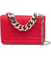 casadei lace-patterned glitter tote bag - red