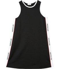 moncler black, white and red logo stripe dress