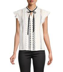 maje women's ruffled drop-sleeve top - ecru - size 3 (l)