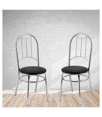 cadeiras para cozinha cromadas preto lilies móveis