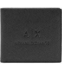armani exchange men's embossed ax bifold wallet - black