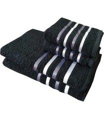 jogo 4 toalhas 2 banho 2 rosto - onix preto
