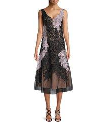 js collections women's leaf soutache a-line dress - lilac black - size 4