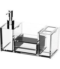 organizador para pia de banheiro quadrata 16,4x21,8cm transparente