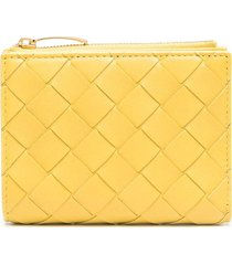 bottega veneta intrecciato leather wallet - yellow