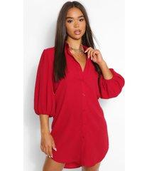 oversized blouse jurk met pofmouwen, berry