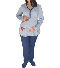 conjunto de pijama linda gestante inverno maternidade viés e botões feminino
