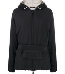 moncler grenoble logo belt padded jacket - black