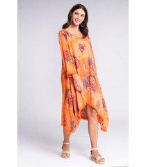 vestido midi seda asimétrico estampado floral