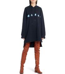 women's marni longline logo hoodie