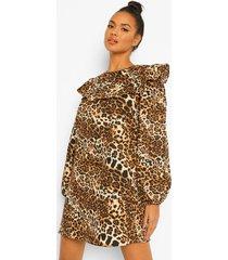 luipaardprint skater jurk met geplooide zomen, brown