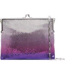 paco rabanne sequinned ombre-effect shoulder bag - purple