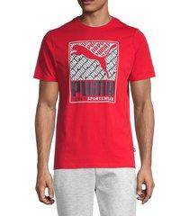 puma men's boxed cat logo t-shirt - red - size m