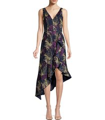 jacquard print asymmetric midi dress