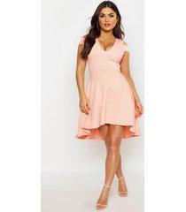 bardot plunge high low skater dress, apricot