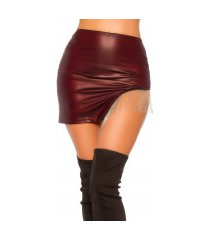sexy wetlook rok met metal franjes bordeaux