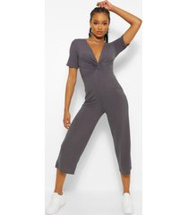 ribbed twist front culotte jumpsuit, charcoal