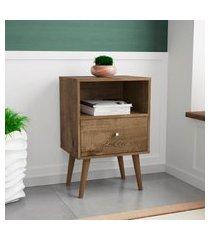 mesa de cabeceira retrô móveis bechara 1 gaveta madeira rústica