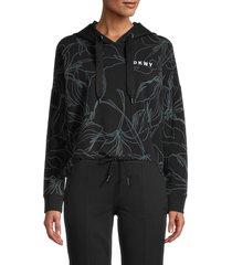 dkny women's printed cropped hoodie - fern - size l