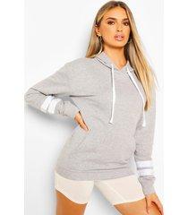 oversized hoodie met gestreept mouw detail, grijs