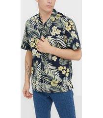 jack & jones jortropical shirt ss skjortor navy blazer