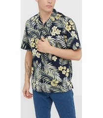 jack & jones jortropical shirt ss skjortor navy blazer