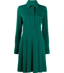 victoria victoria beckham crepe shirt dress - green