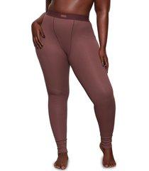 plus size women's skims cotton rib thermal leggings, size 2 x - burgundy