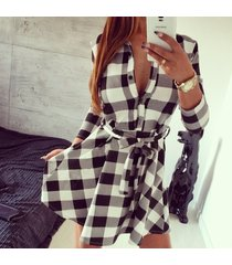 autumn winter plaid check long sleeve mini short pocket belt shirt skate dress