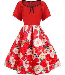 plus size 3d flower piping a line vintage dress