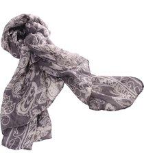 lenço real arte estampa floral cinza