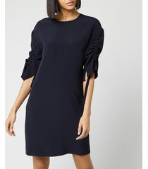 victoria, victoria beckham women's ruched sleeve dress - midnight blue - uk 12