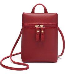 mini tracolla per telefono cellulare in ecopelle donna borsa a spalla solida borsa