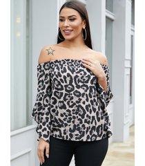 yoins blusa gris con mangas acampanadas de leopardo con tira elástica y hombros descubiertos