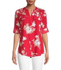 calvin klein women's botanical-print split neck shirt - rouge red combo - size xs