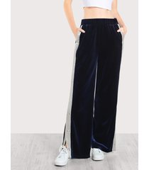 buttoned contrast side velvet pants loose straight mid waist trousers wide leg