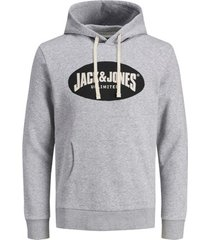 sweater jack & jones 12181892 jor30history sweat hood light grey melange