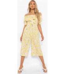 bloemen culotte jumpsuit met uitgesneden hals en geplooide buste, yellow