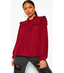 blouse met rucheskraag en strik, berry