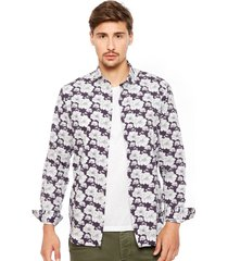 camisa jack & jones prluca print morado - calce slim fit