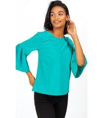 manda bell sleeve blouse - teal