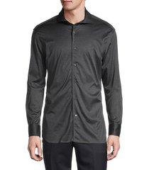 long-sleeve cotton button-up shirt