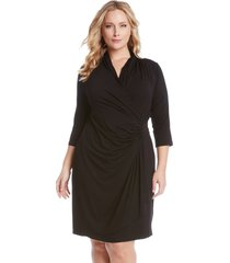 plus size women's karen kane three quarter sleeve jersey cascade faux wrap dress, size 0x - black