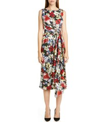 women's erdem poppy collage floral silk sleeveless midi dress, size 10 us - black