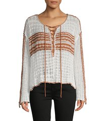 lace-up cotton-blend sweater