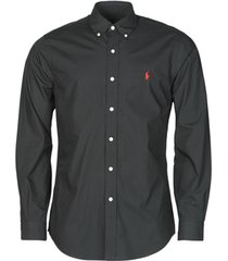 overhemd lange mouw polo ralph lauren chemise ajustee en popline de coton col boutonne logo pony play